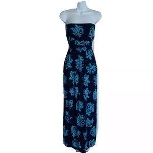 Escapada Living Blue Coral Crush Maxi Dress Large